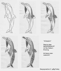 Neopoprealist DOLPHIN: Ink Pen Pattern Drawing: grades 6-8, 9-12, adapt. all | Art Lesson Plans: NeoPopRealism Ink Pen Drawing: GRADES 3-5, ...