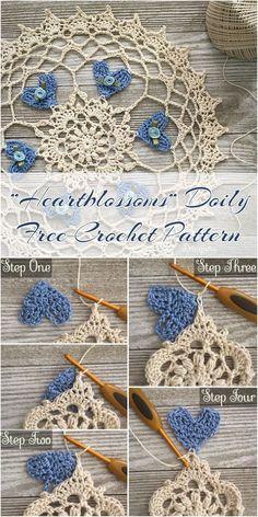 """Heartblossoms"" Doily Free Crochet Pattern Adorable Doily pattern Visit pattern site for FREE! #crochet #heart #doily #freepattern"