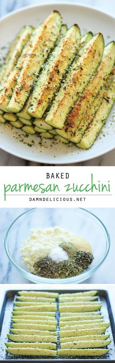 Baked Parmesan Zucchini - Healthy but your little ones will think they are just like french fries. (Sometimes it helps to completely remove the skin so that kids don't see anything green)