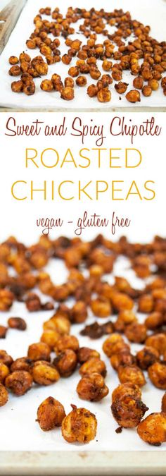 Sweet and Spicy Chipotle Roasted Chickpeas (vegan, gluten free, sugar free) - These crunchy roasted chickpeas are seasoned with chipotle and are sugar free! Eat them by themselves or add them to a salad, soup, Buddha bowl, trail mix, or anywhere you want some extra crunch! #roastedchickpeas #vegan #glutenfree #chickpeas #chipotle