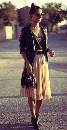Layering girlie things with leather excites me