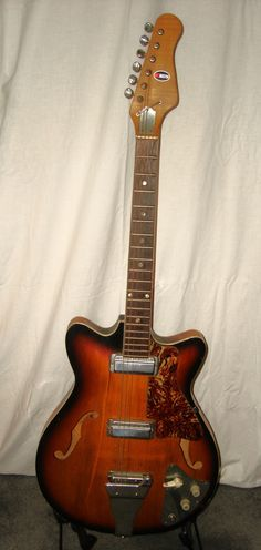 """Vintage 1960's Kingston Hollow Body """"F"""" Hole Archtop Electric Guitar"""
