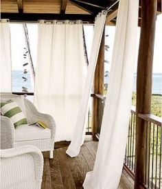 outside curtains- One of my summer projects is to hang outdoor panels on the upstairs deck off of the bedroom