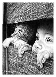 """""""Scoperte"""" - matita su cartoncino A4 (05/02/2015) Dopo i momenti bui della vita non c'è niente di più coraggioso che farsi forza e riuscire a sbucare di nuovo fuori, alla luce del mondo e alla vita. Alle volte è così dura che è difficile riuscire da soli, ma grazie alla famiglia, agli amici o anche ad un semplice gattino, si riesce ad accantonare ogni incertezza e paura e tutto  diventa possibile.  Non dimenticate, il mondo è ancora più bello, se scoperto assieme ad un amico speciale!"""