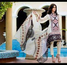 GL-AZ01A 3 Piece lawn suit. Top - Embroidered & printed lawn Pants - Plain lawn fabric Dupatta - Printed Chiffon