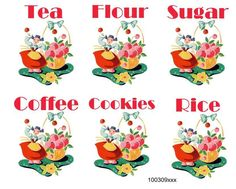 VinTaGe IMaGe CheRRieS CaNisTeR LaBeLs WaTerSLiDe DeCALs *ShaBby*