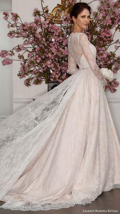 legends romona keveza bridal spring 2017 illusion long sleeve boat neck aline lace wedding dress (l7127) bv blush color train