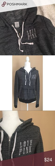 """PINK Hoodie Victoria's Secret PINK full zip heather charcoal hoodie with """"LOVE PINK"""" on front. Very minor flaws shown in photo, but overall great condition. Length: 21.5"""", pit to pit: 20"""". ✨OFFERS WELCOME✨ PINK Tops Sweatshirts & Hoodies"""
