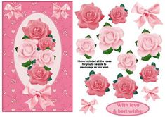 Pink Roses Card Front on Craftsuprint - Add To Basket!