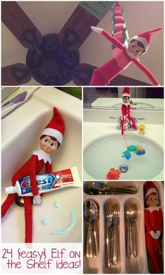 24 {Easy} Elf on the Shelf Ideas - Ask Anna - - Our Elf on the Shelf isn't mischievious but wants to have fun so I gathered up 24 easy Elf on the Shelf ideas for her and came up with a handful of my own. Elf Ideas Easy, Awesome Elf On The Shelf Ideas, Elf On The Shelf Ideas For Toddlers, Elf Is Back Ideas, Noel Christmas, Christmas Elf, Christmas Crafts, Christmas Cookies, Christmas Kitchen
