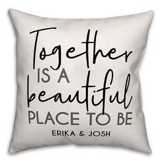 The perfect couple's gift, the Beautiful Place Square Throw Pillow from Designs Direct can be personalize with two names under a special sentiment. Suitable for both indoor and outdoor spaces, this piece is stain, mildew and water resistant. Diy Pillow Covers, Diy Pillows, Outdoor Throw Pillows, Pillow Set, Custom Pillows, Decorative Pillows, Pillow Ideas, Cushions, Personalized Pillows