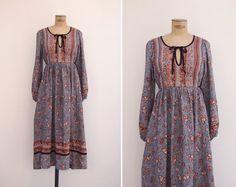1970s Dress Vintage 70s Indian Gauze Dress by GoldenCraneVintage