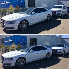 The white beauties picking some of our VIP customers at Hawker Pacific, ready for a Day of playing in the Sun. Give us a call to arrange a quote #privatejetbase #audi #a8l #q7 #white #hawkerpacific #sydneycarhire #sydneysummer2017 #baysidelimousines    #Regram via @bayside_limousines