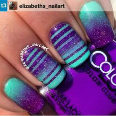 Teal and purple nail designs are on the rise in fashion. It is undoubtedly one of the most popular artificial nail designs. You will find that a large number of nail designs can be selected, along with low-key, simple designs, exuding retro elegance Teal Nails, Fancy Nails, Diy Nails, Purple Nails With Glitter, Teal Nail Art, Purple Pedicure, Nails Turquoise, Gel Pedicure, Purple Sparkle