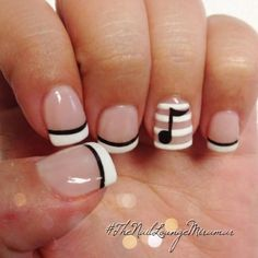 Kim Nguyen of Instagram's @The_Nail_Lounge_Miramar designed these lovely tips that make us want to sing! Black and White Music Note French Manicure, Fun French Manicures, Cool Nails, Nail Designs, Nail Trends, Nail It! Magazine