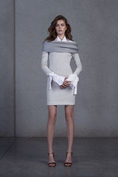 Maticevski Resort 2016 - Look 31 - a white tied-cuff shirt with a fitted sheath dress in gray, with diagonal seaming and a subtle stripe print