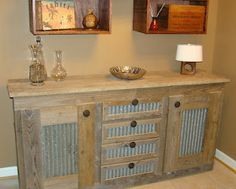 Rustic Cabinet Ideas rustic tall storage- reclaimed barn wood cabinet w/tin doors