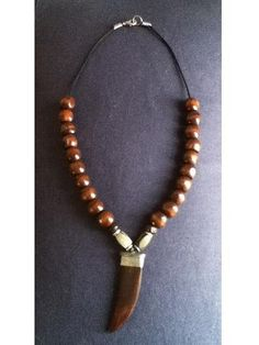 Men's wood necklace with decorative ox bone tooth by sweetiebel, $25.00