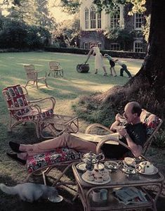 Twickenham, England 1950s | Norman is drinking tea while his… | Flickr Norman, Little Britain, Lawn Party, British Humor, London History, Cecil Beaton, Quiet Moments, Color Photography, Fashion Photography