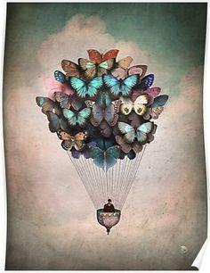 Illustration - illustration - Whole class makes a butterfly each to lift the balloon. illustration : – Picture : – Description Whole class makes a butterfly each to lift the balloon -Read More – Art And Illustration, Landscape Illustration, Balloon Illustration, Art Papillon, Inspiration Art, Canvas Prints, Art Prints, Art Design, Oeuvre D'art