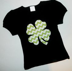 The no pinch boy or girl SHIRT with lucky green chevron shamrock St. Patrick's applique size NB - 16- fun to wear for St. Patrick's day