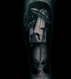 Mens Forearms Grey Black Spaceships And Alien Tattoo