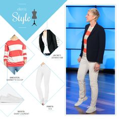 Ellen's Look of the Day: jacket, striped coral sweater, white jeans and white shoes