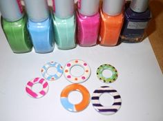 nail polish + washers = necklaces. I'm more likely to do this than paint my nails with nail polish! lol