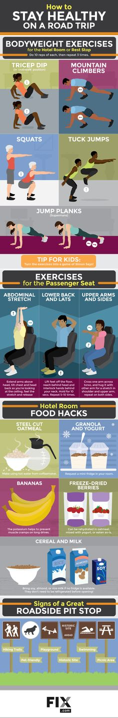 Find out how to stay healthy on the road! Read our tips for packing healthy snacks and stretching. #Roadtrip