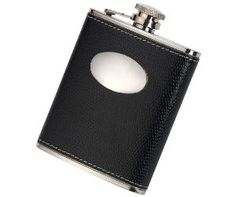 NEW Black Leather Bound Hip Flask A brightly polished engraving plate allows this flask to be easily personalised and engraved with a short message or the initials of someone special.