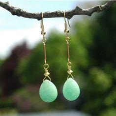Bastelset vergoldete Ohrringe mit Jadeperlen steinperlenwelt.de