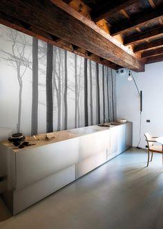 """Фотообои """"Туманные деревья"""" на стену c примерами в интерьере"""