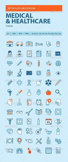 Set of Flat Line Icons on Medicine Theme