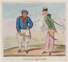 """""""National Discourse"""" (possibly) by James Gillray, National Portrait Gallery. William Lamb, James Gillray, Sailor Outfits, Maritime Museum, National Portrait Gallery, Royal Navy, Political Cartoons, Hand Coloring, Caricature"""