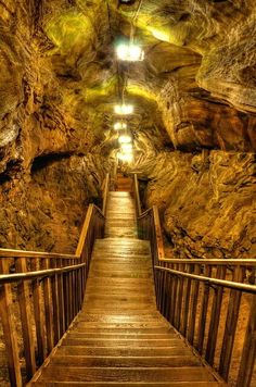 Stairwell in Laurel Caverns, Hopwood, Pennsylvania.
