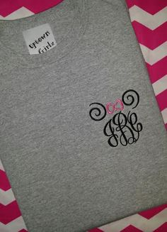 Minnie Mouse Monogram Pocket Placement  Spiral design embroideried tee shirt on Etsy, $20.00