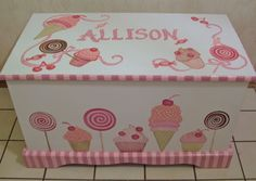 SWEETIE... CUSTOM DESIGNED Toy  Chest designed  from your wallpaper border, picture etc.. $289.00, via Etsy.
