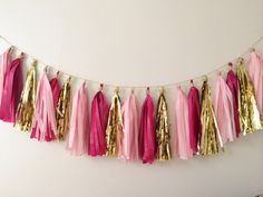 Pink and Gold Tassel Garland on Gold Rope by BlushBazaar on Etsy, $27.00