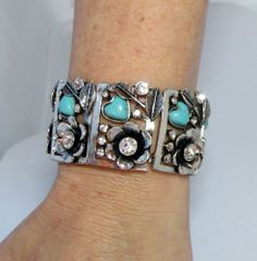 COWGIRL bling Flower BRACELET Silver Turquoise  GYPSY Rhinestones stretch bangle #Unbranded #Bangle our prices are WAY BELOW RETAIL! all JEWELRY SHIPS FREE! www.baharanchwesternwear.com baha ranch western wear ebay seller id soloedition