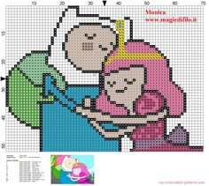 Finn with princess Bubblegum Adventure Time pattern designed by Monica