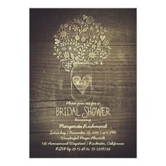 country rustic mason jar floral bridal shower card Rustic wood and love heart mason jar bridal shower invitation with various flowers, wildflowers, sunflowers, leaves and love hearts.