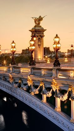 "One of the most beautiful bridges in Paris ""Le pont Alexandre III""."