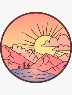 'Sunset Mountains' Sticker by Brittany Hefren Vinyl Record Art, Vinyl Art, Tumblr Stickers, Cute Stickers, Printable Stickers, Cd Art, Small Canvas Art, Aesthetic Painting, Aesthetic Stickers