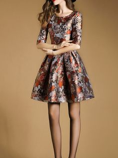 Jacquard Cotton-blend Swing Mini Dress