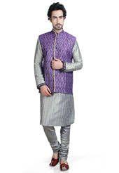 Grey Art Silk Readymade Kurta with Churidar and Nehru Jacket