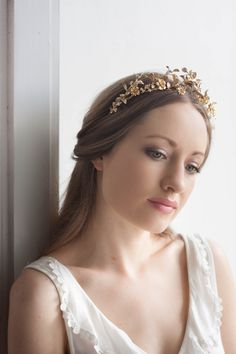 Antique German Wedding Tiara Replica, vintage style tiara, leaf tiara, myrtle tiara, leaf crown, Silver tiara, gold flower crown, boho #138 by AnnaMarguerite on Etsy https://www.etsy.com/listing/232334330/antique-german-wedding-tiara-replica