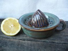 Ceramic Citrus Juicer in Country Blue by KismetPottery on Etsy, click the image or link for more info.