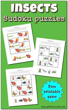 Insects Sudoku puzzles | Free Sudoku puzzles for kids | Insect Sudoku games | printable games for children || Gift of Curiosity