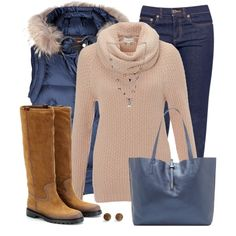 """""""Blue Vest with Fur"""" by daiscat on Polyvore"""