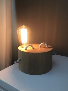 Old around oak base with edison lamp by YGWoodworking on Etsy
